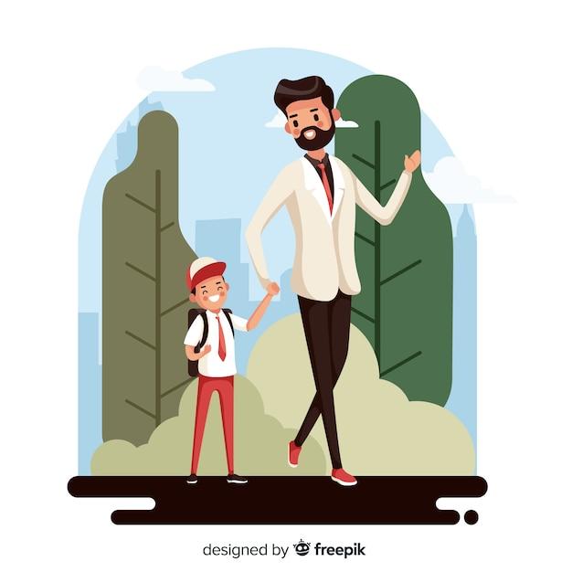 De volta às crianças da escola com seu pai Vetor grátis