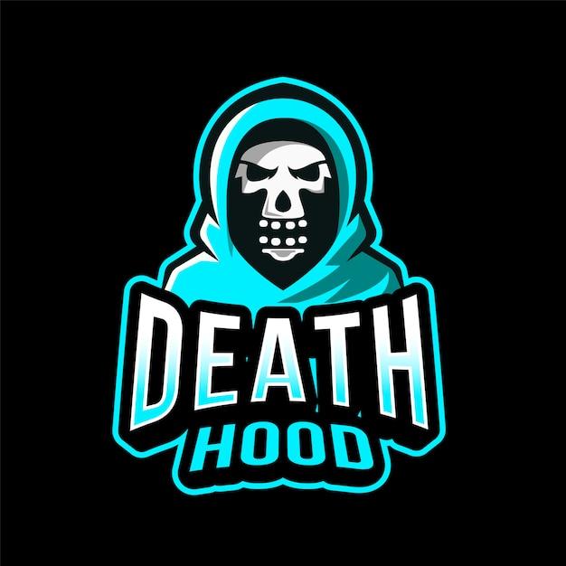 Death hood esport logotipo Vetor Premium