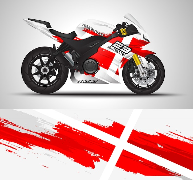 Decalque da motocicleta e adesivo de vinil Vetor Premium