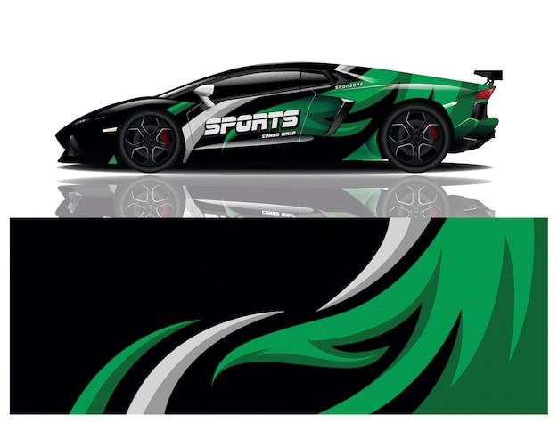 Decalque de embrulho de carro esportivo Vetor Premium