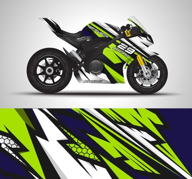 Decalque do envoltório da bicicleta do esporte de competência e ilustração da etiqueta do vinil. Vetor Premium