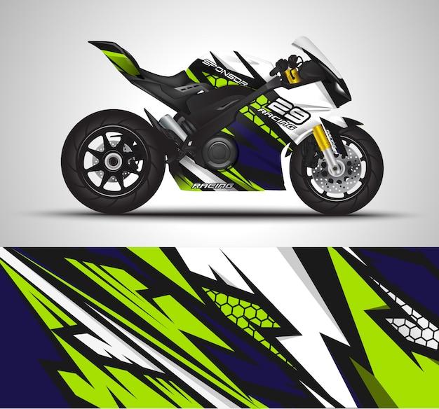 Decalque do envoltório da motocicleta e ilustração da etiqueta do vinil. Vetor Premium