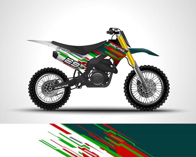 Decalque do envoltório do motocross e ilustração da etiqueta do vinil. Vetor Premium