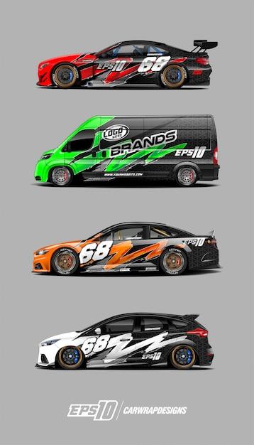 Decalques de carros de corrida Vetor Premium