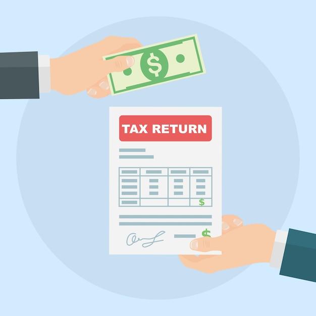Declaração de imposto. mão de homem segura formulário de imposto e mão dando dinheiro Vetor Premium