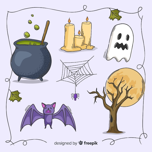 Decoração assustadora para o dia das bruxas Vetor grátis