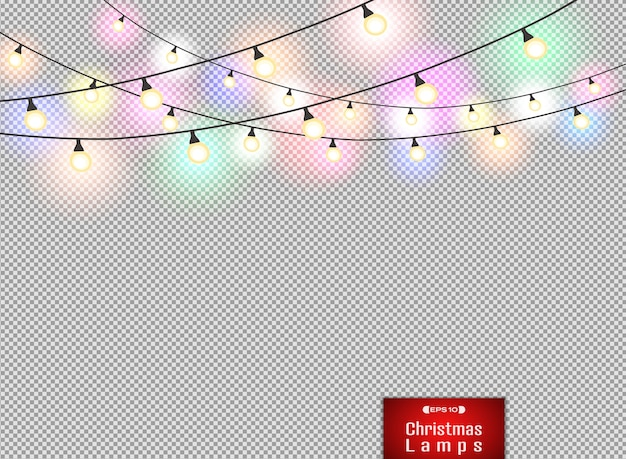 Decoração colorida das lâmpadas no fundo vermelho do natal do inclinação. Vetor Premium