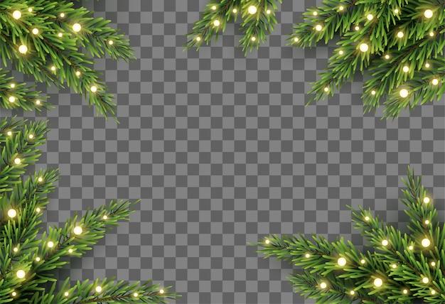 Decoração da árvore de natal com galhos de pinheiro e luzes no fundo transparente Vetor Premium