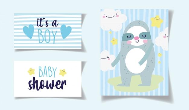 Decoração das nuvens do urso kawaii é um cartão do chuveiro de bebê menino Vetor Premium