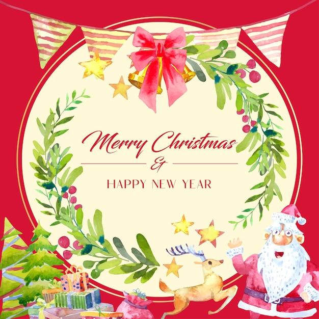 Decoração de cartão de natal em aquarela com coroa de folhas verdes. papai noel, rena com uma caixa de presente e uma árvore de natal na parte inferior. Vetor Premium