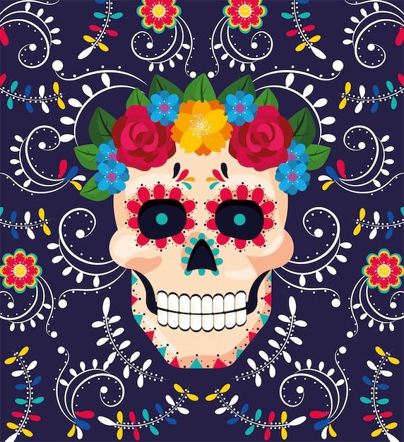 Decoração de caveira de homem com flores para evento mexicano Vetor Premium