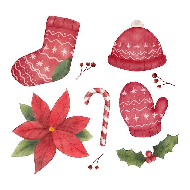 Decoração de elemento de objetos vermelhos de natal em estilo aquarela Vetor Premium