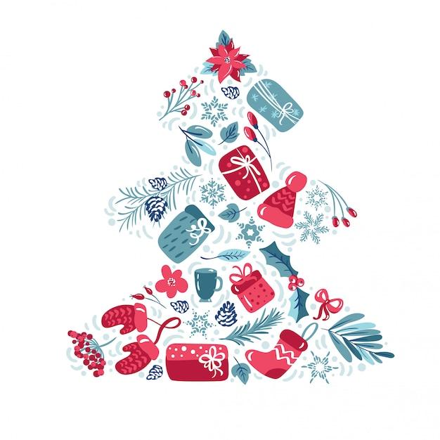 Decoração de férias de natal com folhas presentes, flores Vetor Premium