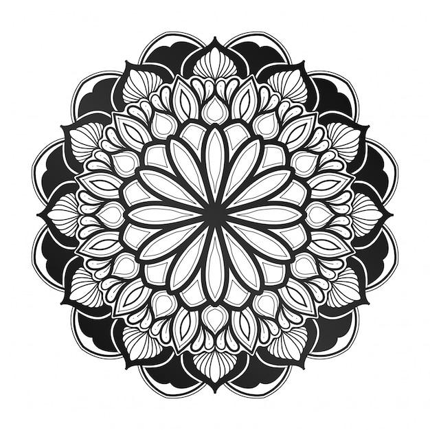 Decoração de flores mandala. estilo geométrico. indiano, árabe, islâmico. cartão de visita, livro de capa. com um verde jardim azul. Vetor Premium