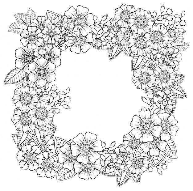 Decoração de flores mehndi em estilo étnico oriental, indiano. ornamento do doodle. esboço mão desenhar ilustração. Vetor Premium