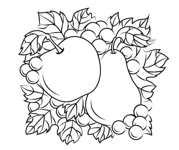 Decoração de frutas Vetor Premium