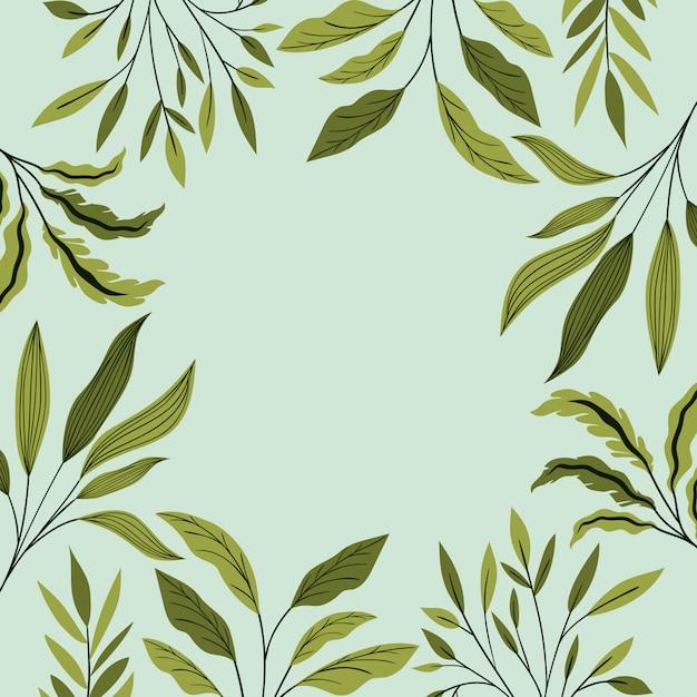Decoração de moldura natural de folhas verdes Vetor grátis
