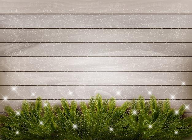 Decoração de natal com fundo de madeira. Vetor Premium