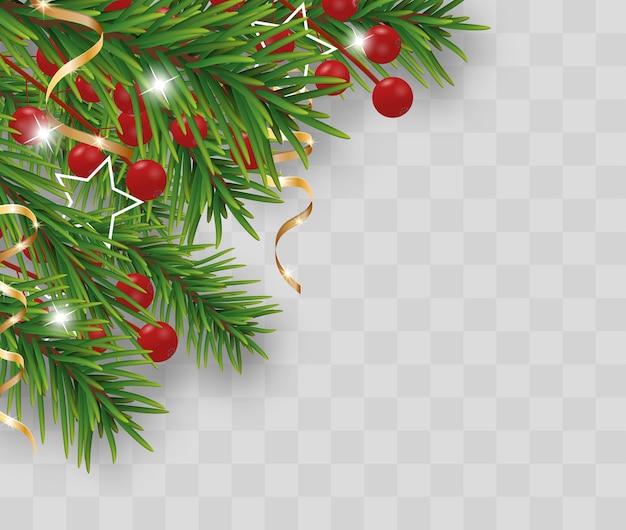 Decoração de natal e feliz ano novo com galhos de árvores de natal Vetor Premium