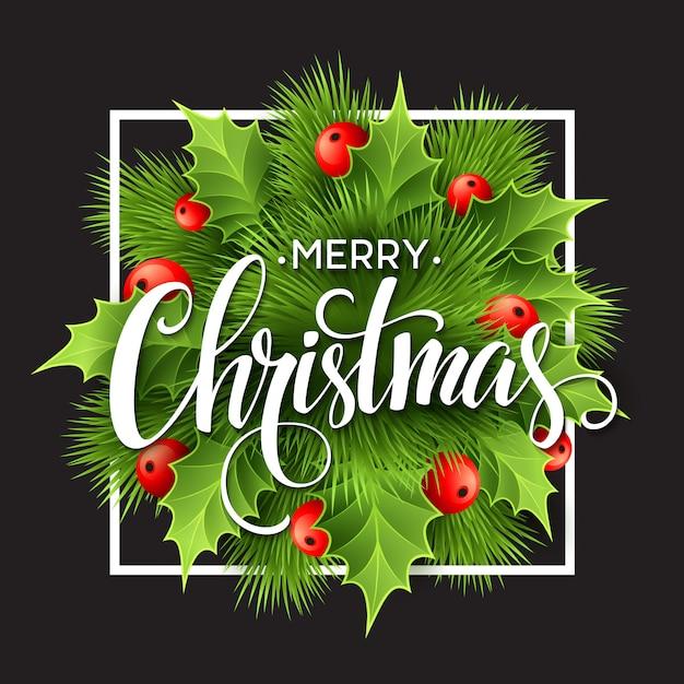 Decoração de natal no quadro de giz, cartão de felicitações Vetor Premium