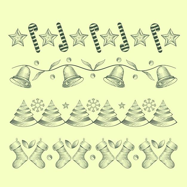 Decoração de natal vintage com sinos Vetor grátis