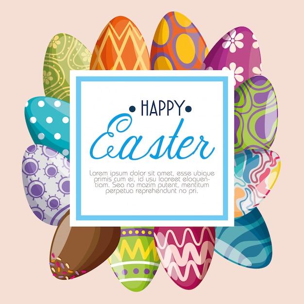 Decoração de ovos com mensagem de emblema para o evento de páscoa Vetor grátis