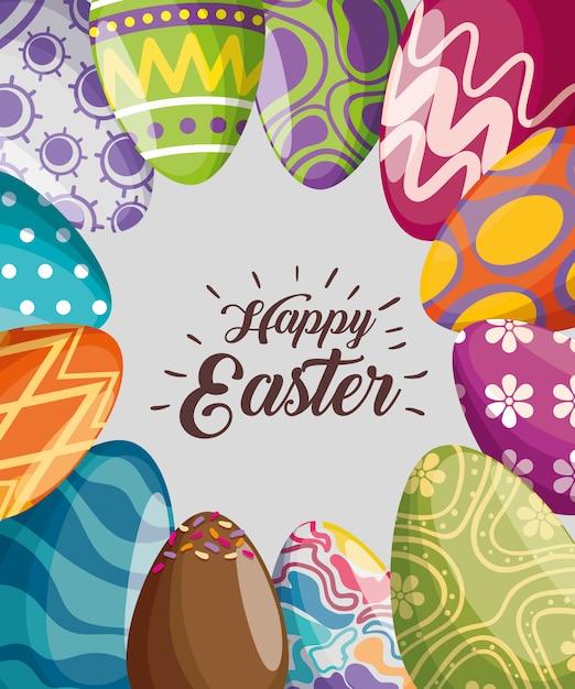 Decoração de ovos de páscoa para a celebração do evento Vetor grátis