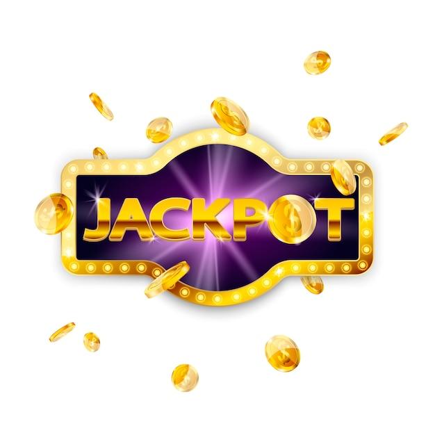 Decoração de sinal retrô de jackpot com moedas caindo isolado. vetor Vetor Premium