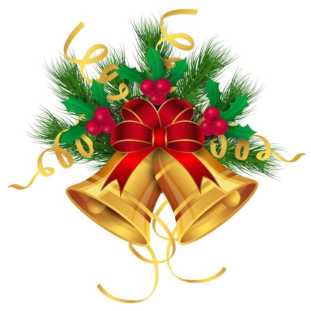 Decoração de sinos de ouro feliz natal Vetor Premium
