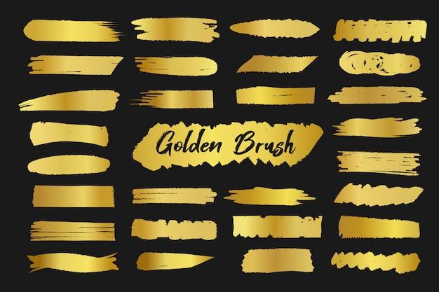 Decoração dourada da mancha da escova Vetor Premium