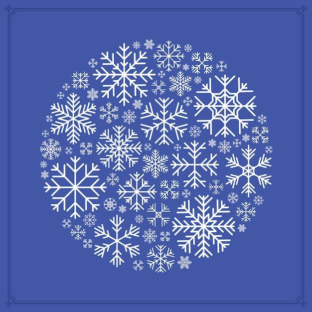 Decoração feita de flocos de neve Vetor Premium