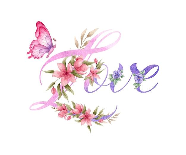 Decoração floral de amor com linda borboleta Vetor Premium