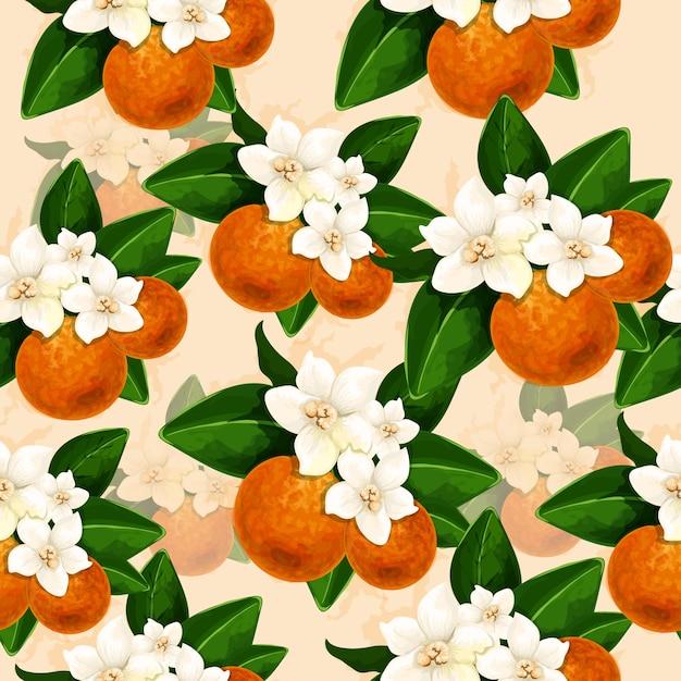 Decoração floral fundo com flor de laranjeira Vetor Premium