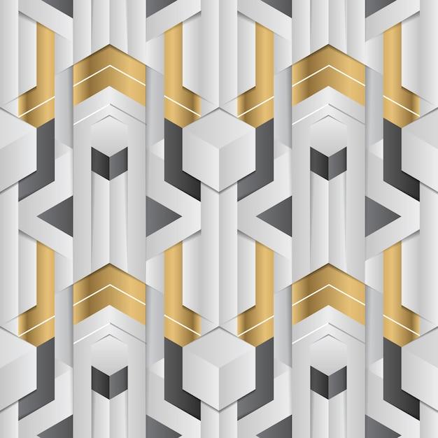 Decoração geométrica abstrata listras elemento branco e dourado Vetor Premium
