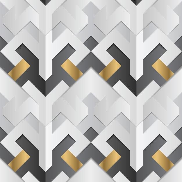 Decoração geométrica listras branco e dourado elemento Vetor Premium
