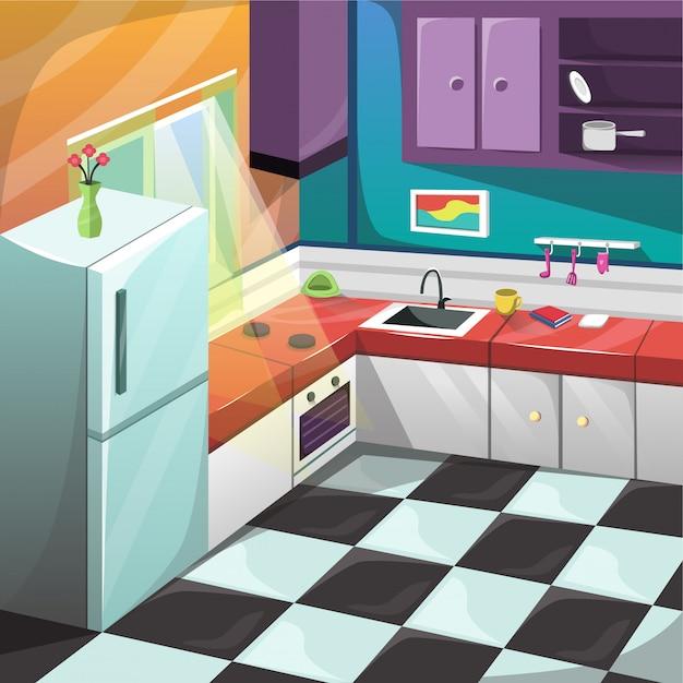Decoração interior ajustada da mobília da sala da cozinha Vetor Premium