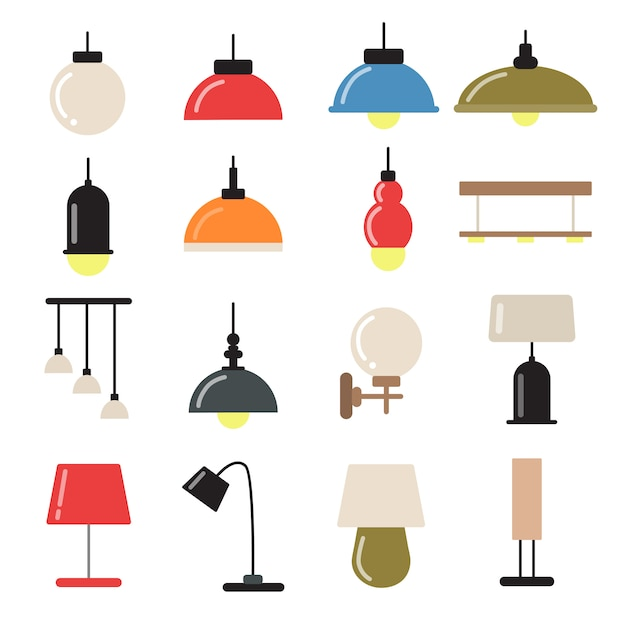 Decoração interior com lâmpadas e candelabros modernos. vetorial, símbolos, de, luz Vetor Premium