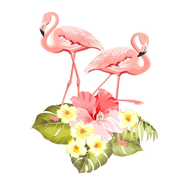 Decoração natural exótica floral. fundo de verão safary com silhueta de folhas tropicais, flores desabrochando plumeria e pássaros flamingo. Vetor grátis