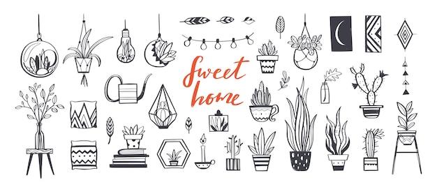 Decoração para casa e plantas de casa desenhadas à mão conjunto. decoração para casa e elementos de design de interiores Vetor Premium