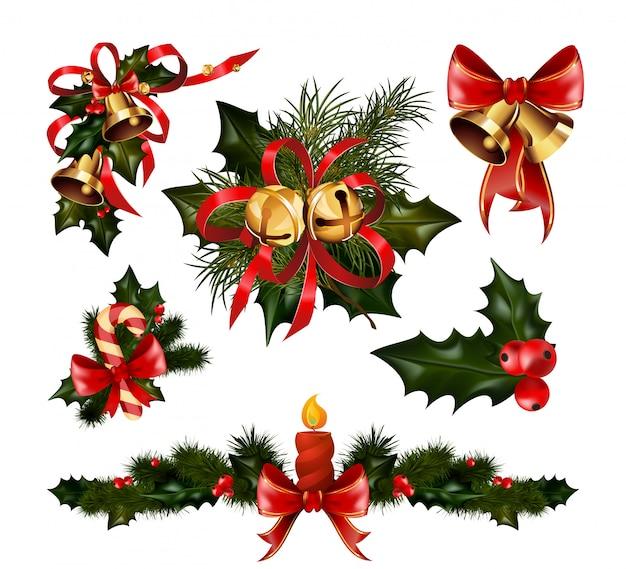 Decorações de natal com árvore de abeto e elementos decorativos Vetor Premium
