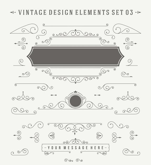 Decorações de ornamentos vintage projetar o conjunto de elementos. Vetor Premium