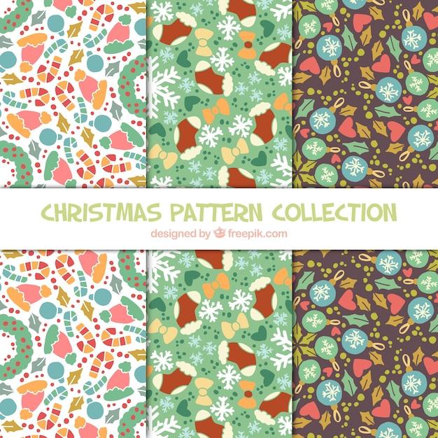 Decorativas itens natal belos padrões Vetor grátis