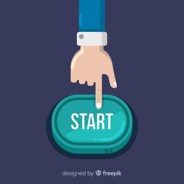 Dedo pressionando o botão iniciar verde Vetor grátis