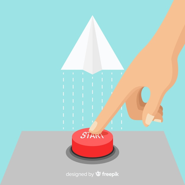 Dedo pressionando o botão iniciar vermelho Vetor grátis