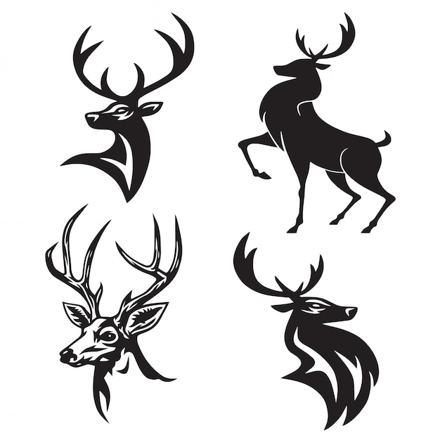 Deer logo set premium design vector Vetor Premium