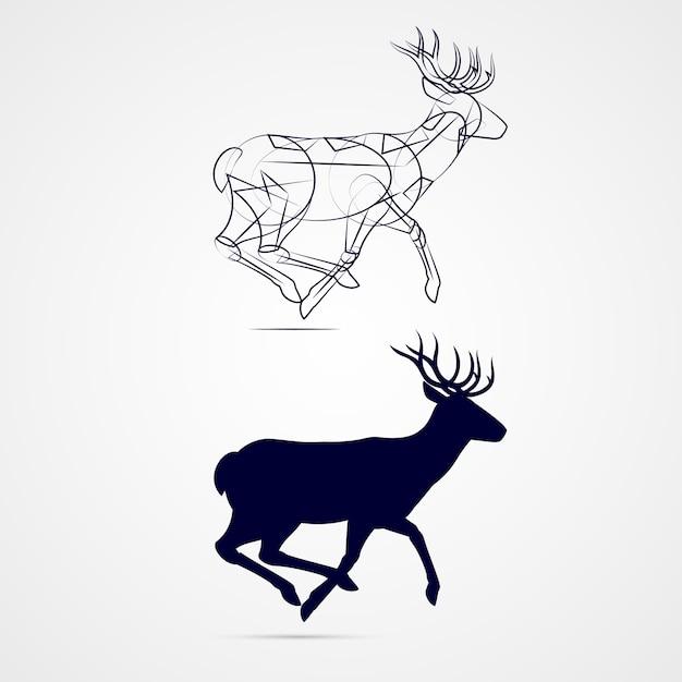 Deer silhouette Vetor Premium