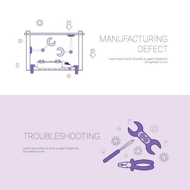 Defeito de fabricação e solução de problemas conceito modelo web banner com cópia espaço Vetor Premium