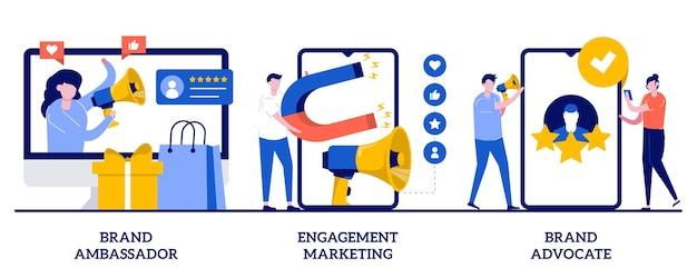 Defensor e embaixador da marca, conceito de marketing de engajamento com ilustração de pequenas pessoas Vetor Premium
