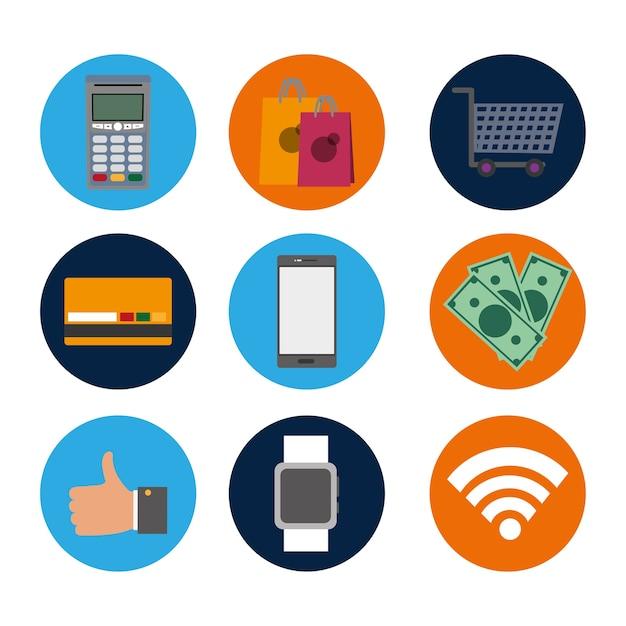 Defina a tecnologia nfc com a transação dataphone para compras Vetor Premium