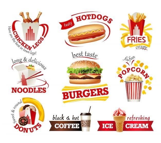 Defina lindos ícones de desenhos animados de fast food Vetor grátis